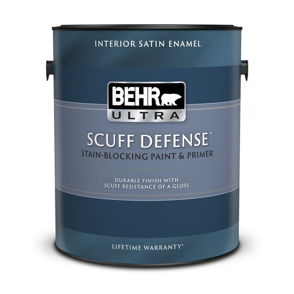 Interior Satin Enamel Paint & Primer In One - Ultra Pure White,  3.79 L