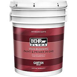 Behr Premium Plus Ultra Interior Matte Enamel Paint & Primer in One - Ultra Pure White, 18.9 L