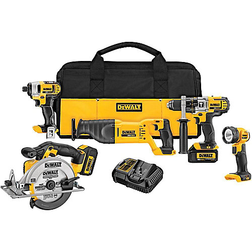 20V MAX Lithium-Ion Cordless Combo Kit (5-Tool) with (2) Batteries 3Ah, Charger and Contractor Bag