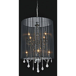 Black Sheer 8 Light Chandelier