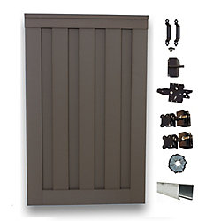 Trex Seclusions Seclusions 4 ft. x 6 ft. Winchester Grey Wood-Plastic Composite Privacy Fence Single Gate with Hardware