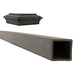 Seclusions 5 inch x 5 inch x 9 ft. Winchester Grey Wood-Plastic Composite Fence Post with Crown Post Cap