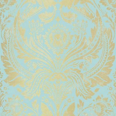 Graham Brown Damask Aqua Gold Wallpaper