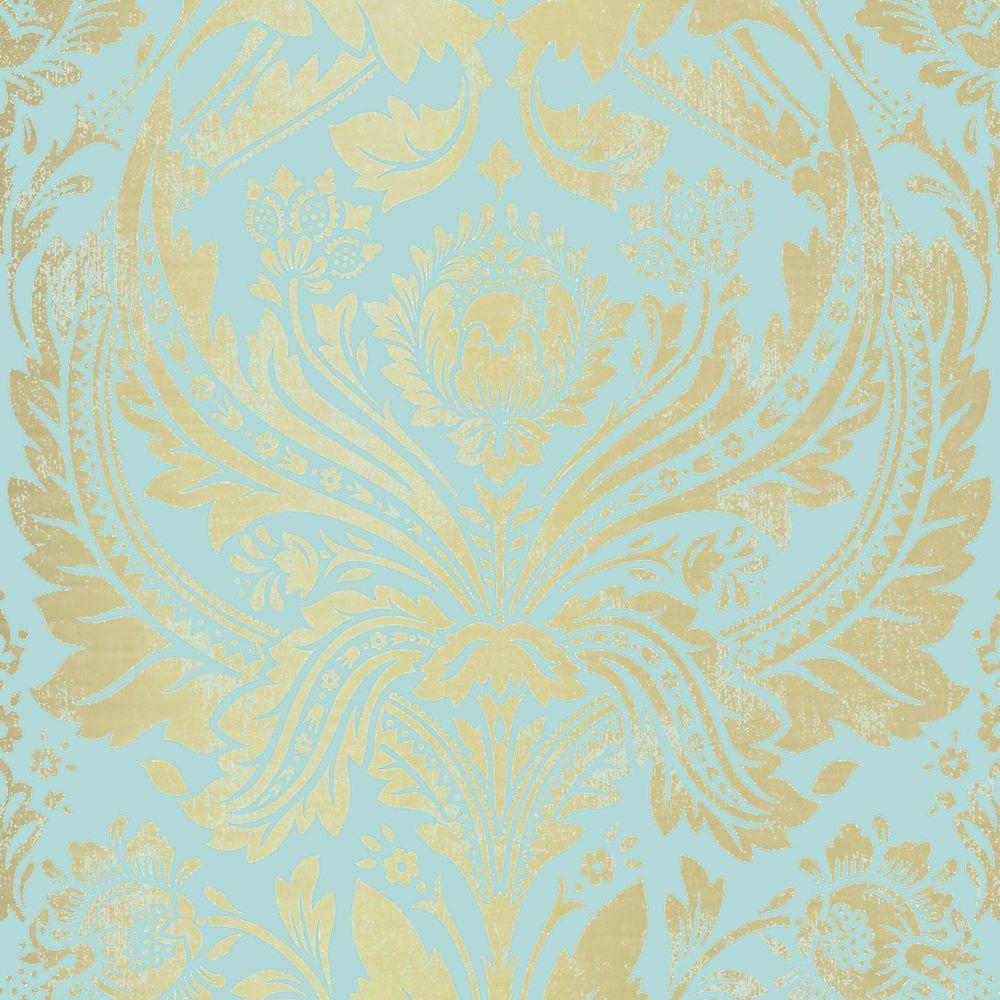 Damask Aqua/Gold Wallpaper