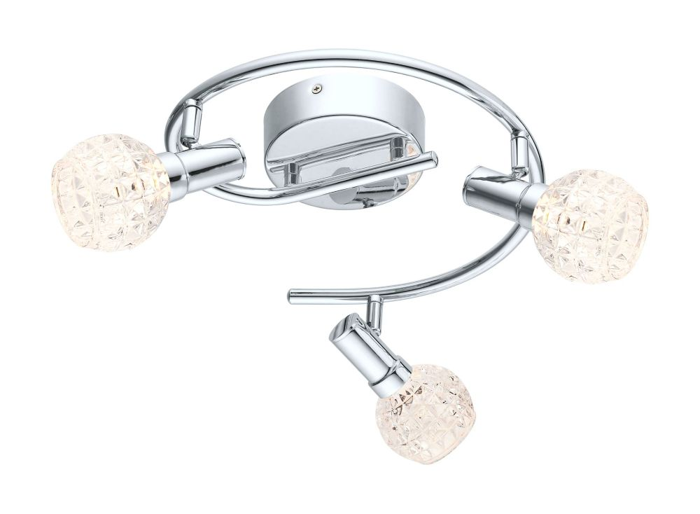 Hania LED Ceiling Light 3L, Chrome Finish with Clear Glass
