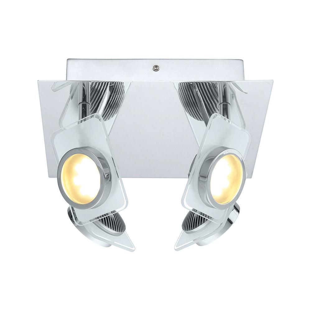 Tinnari LED Ceiling Light 4L, Chrome Finish with Satin Glass