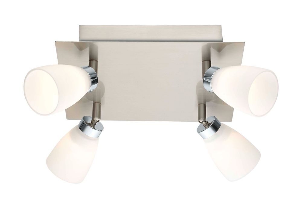 Cariba LED Ceiling Light 4L, Matte Nickel & Chrome Finish with Opal Frosted Glass