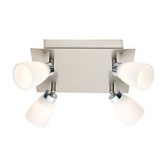 Cariba LED Ceiling Light 4L, Matte Nickel & Chrome Finish with Opal Frosted Glass - ENERGY STAR®