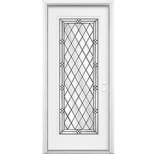 Masonite 34-inch x 80-inch x 4 9/16-inch Antique Black Full Lite Left Hand Entry Door with Brickmould - ENERGY STAR®