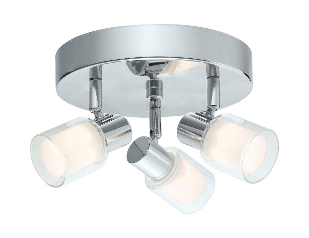 Salti Plafonnier LED 3L, fini chrome avec verre givré et clair