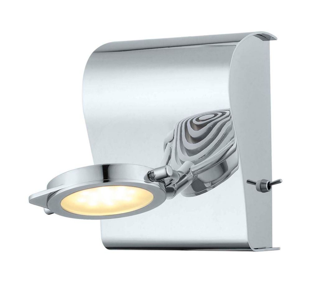 Orotelli LED Wall Light 1L, Chrome Finish with Satin Glass