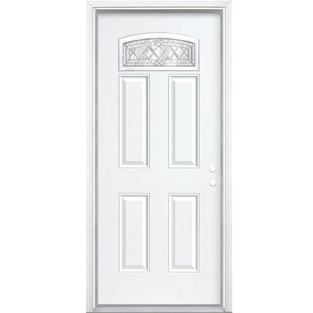 34-inch x 80-inch x 6 9/16-inch Nickel Camber Fan Lite Left Hand Entry Door with Brickmould
