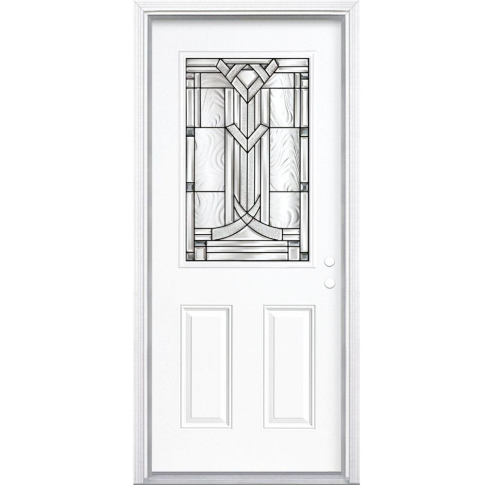 34-inch x 80-inch x 4 9/16-inch Antique Black 1/2-Lite Left Hand Entry Door with Brickmould