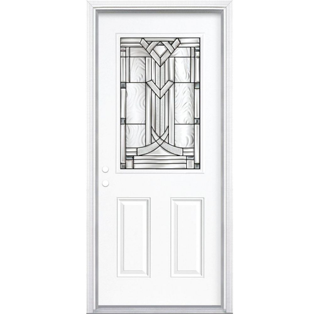 32-inch x 80-inch x 4 9/16-inch Antique Black 1/2-Lite Right Hand Entry Door with Brickmould