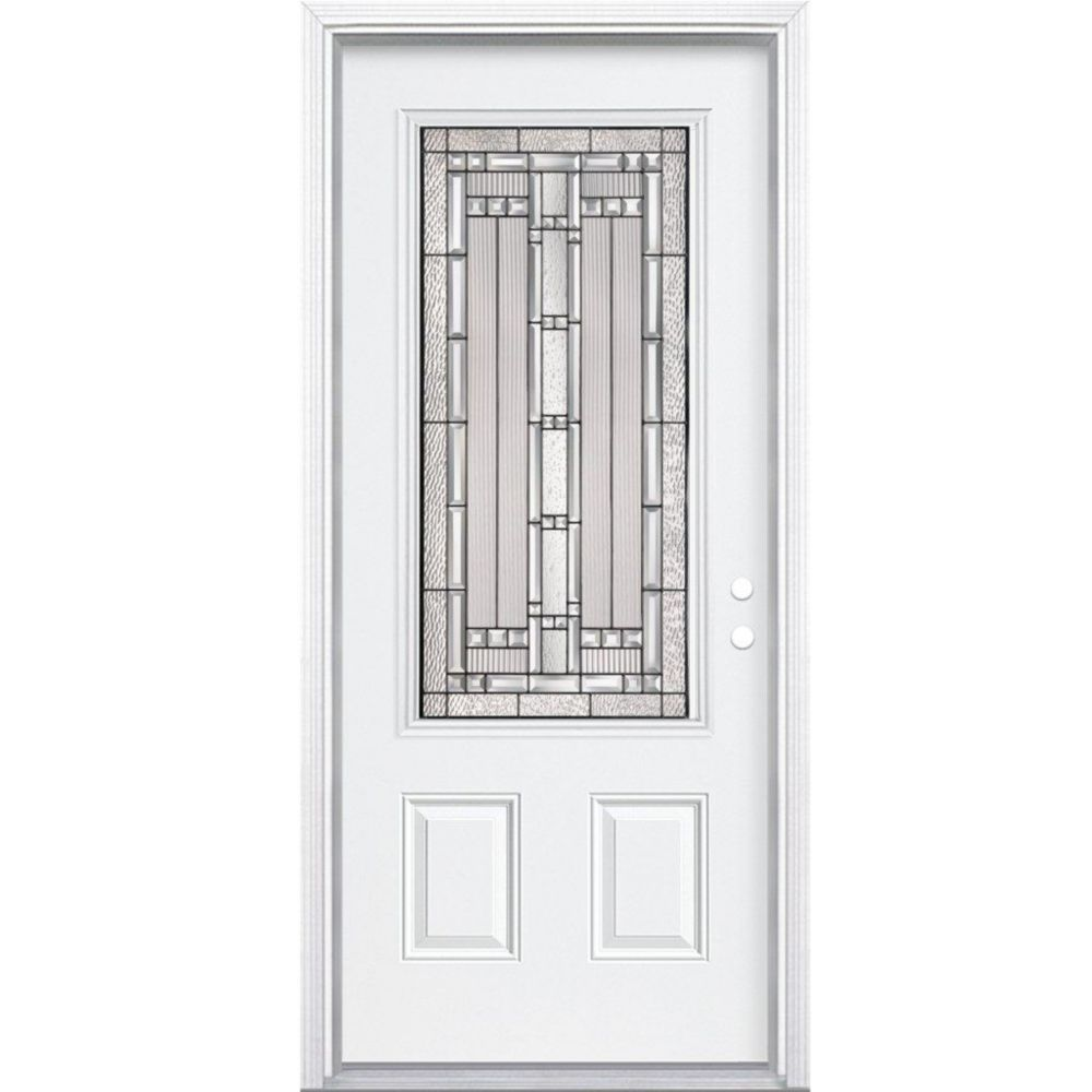 36 In. x 80 In. x 6 9/16 In. Elmhurst Antique Black 3/4 Lite Left Hand Entry Door with Brickmould