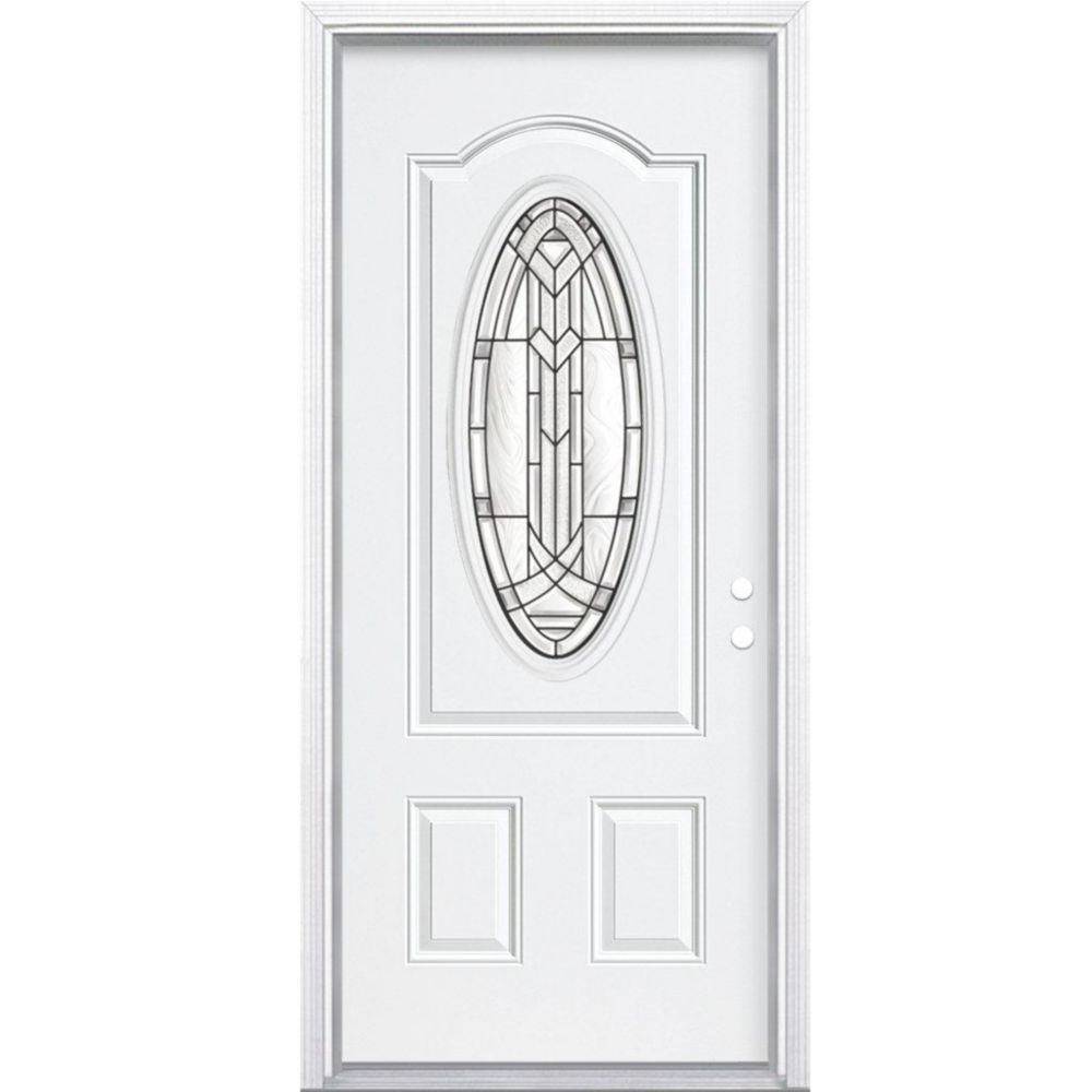 34 In. x 80 In. x 4 9/16 In. Chatham Antique Black 3/4 Oval Lite Left Hand Entry Door with Brickm...