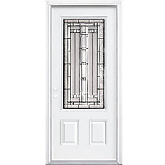 32-inch x 80-inch x 4 9/16-inch Antique Black 3/4-Lite Left Hand Entry Door with Brickmould - ENERGY STAR®