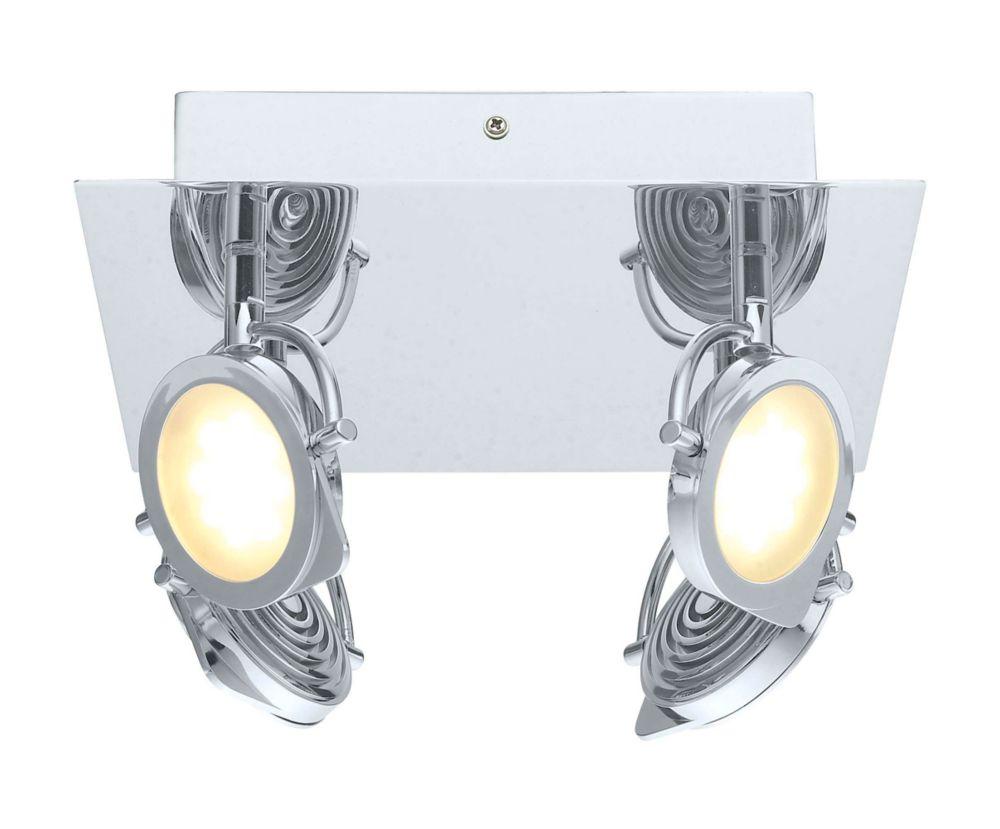 Orotelli Plafonnier LED 4L, fini chrome avec verre satin