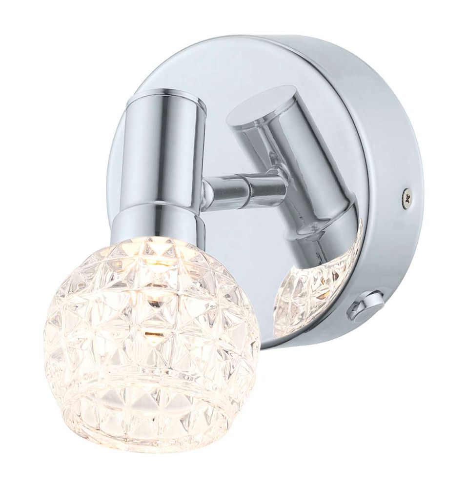 Hania LED Wall Light 1L, Chrome Finish with Clear Glass