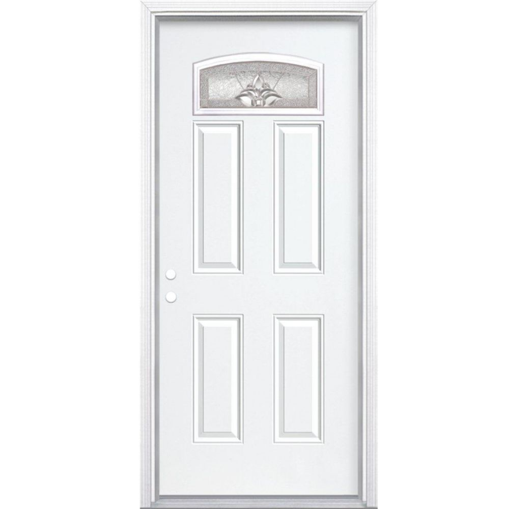 36-inch x 80-inch x 6 9/16-inch Nickel Camber Fan Lite Right Hand Entry Door with Brickmould