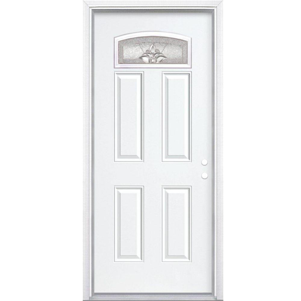 34 In. x 80 In. x 6 9/16 In. Providence Nickel Camber Fan Lite Left Hand Entry Door with Brickmou...