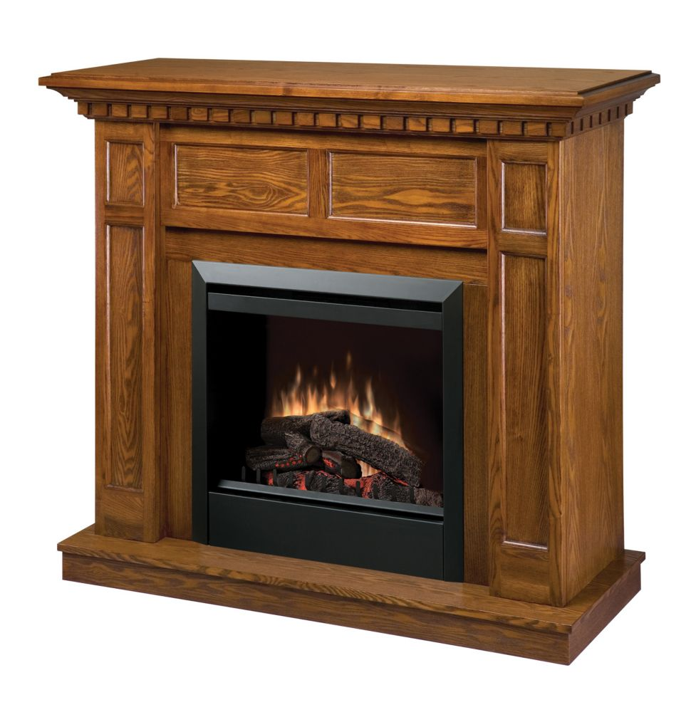 Fireplace Kit, Traditional Warm Oak Mntl, Glass 23 Inches Insert