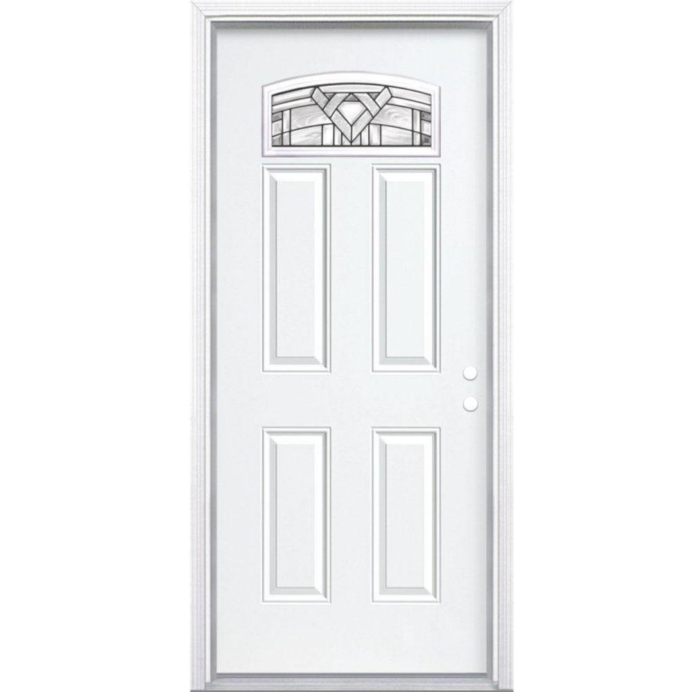 """32""""x80""""x6 9/16"""" Chatham noir antique d. lune cambré porte d'entrée moul. à brique m. gauche"""