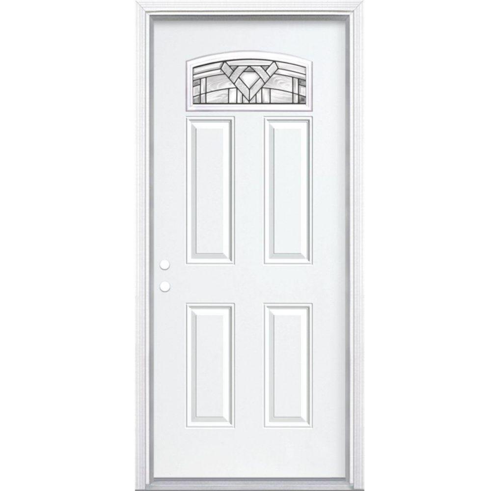 """34""""x80""""x4 9/16"""" Chatham noir antique d. lune cambré porte d'entrée moul. à brique m. droite"""