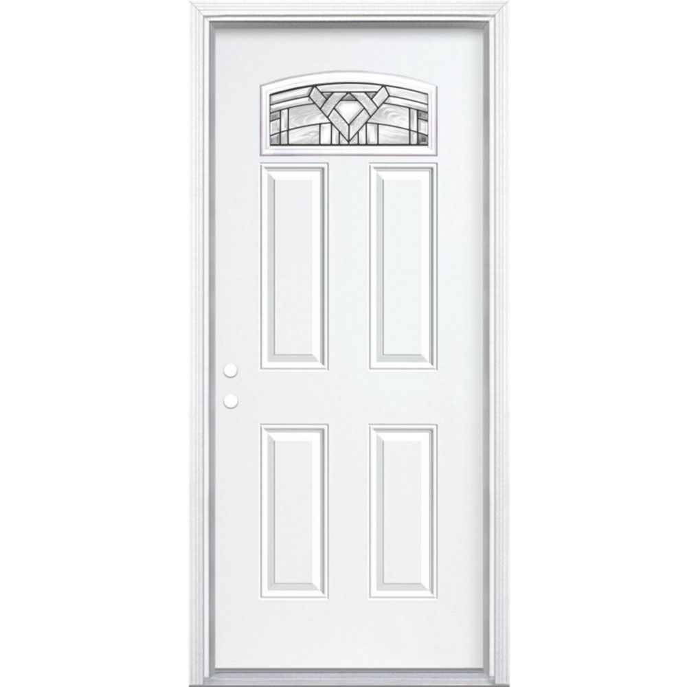 """36""""x80""""x6 9/16"""" Chatham noir antique d. lune cambré porte d'entrée moul. à brique m. droite"""