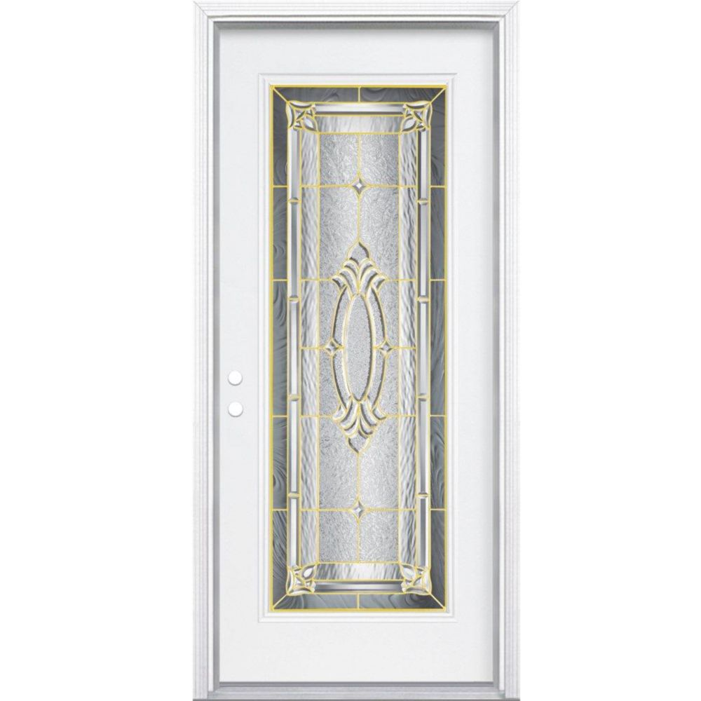 34-inch x 80-inch x 6 9/16-inch Brass Full Lite Right Hand Entry Door with Brickmould