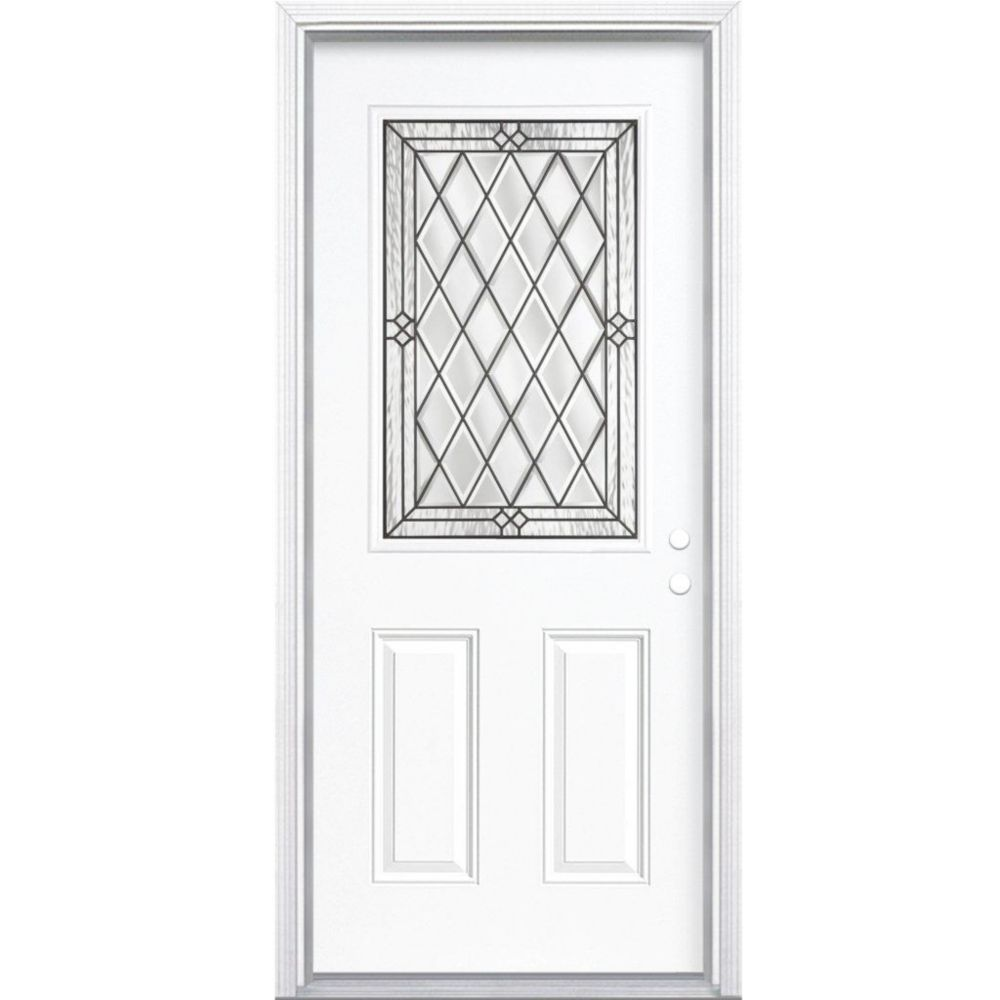32-inch x 80-inch x 6 9/16-inch Antique Black 1/2-Lite Left Hand Entry Door with Brickmould