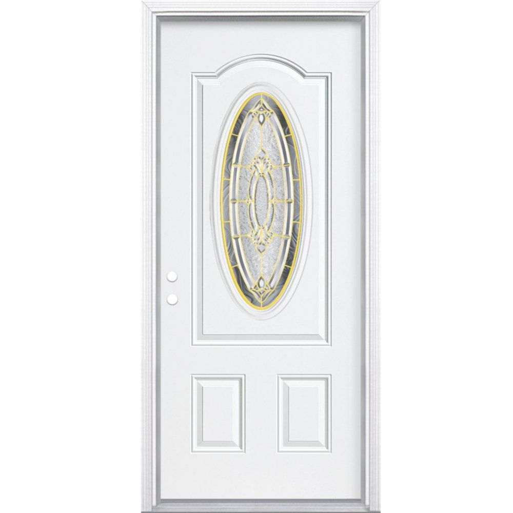 32-inch x 80-inch x 6 9/16-inch Brass 3/4 Oval Lite Right Hand Entry Door with Brickmould