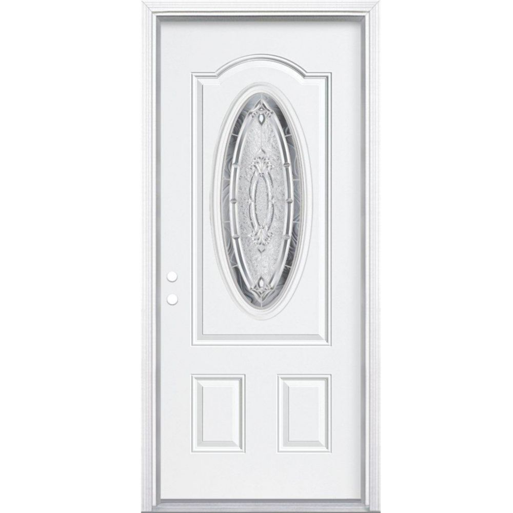 32 In. x 80 In. x 6 9/16 In. Providence Nickel 3/4 Oval Lite Right Hand Entry Door with Brickmoul...