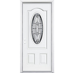 32-inch x 80-inch x 6 9/16-inch Antique Black 3/4 Oval Lite Right Hand Entry Door with Brickmould