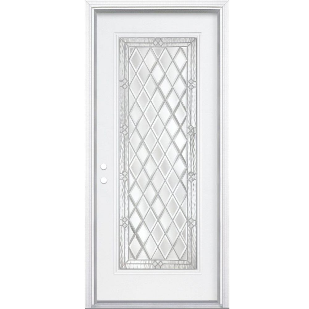 34-inch x 80-inch x 6 9/16-inch Nickel Full Lite Right Hand Entry Door with Brickmould