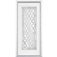 36-inch x 80-inch x 4 9/16-inch Nickel Full Lite Left Hand Entry Door with Brickmould