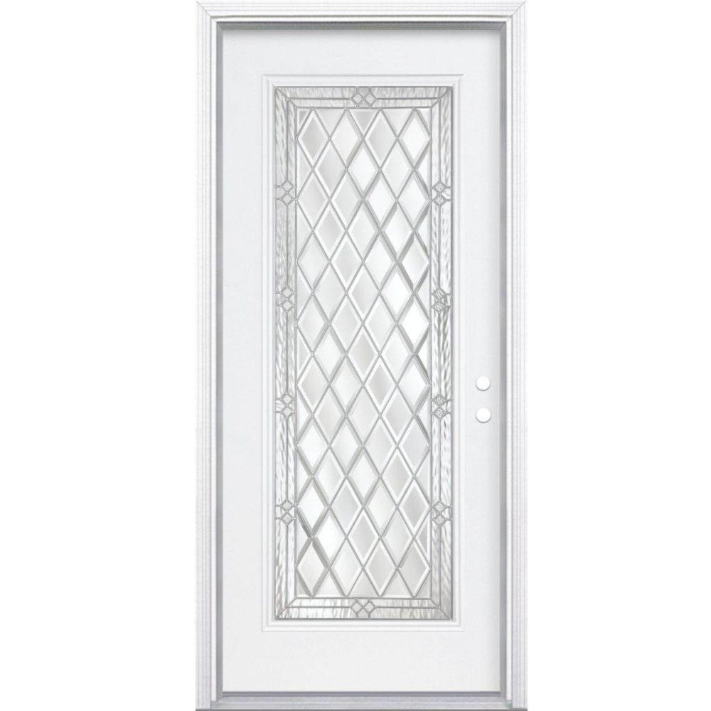 32-inch x 80-inch x 4 9/16-inch Nickel Full Lite Left Hand Entry Door with Brickmould