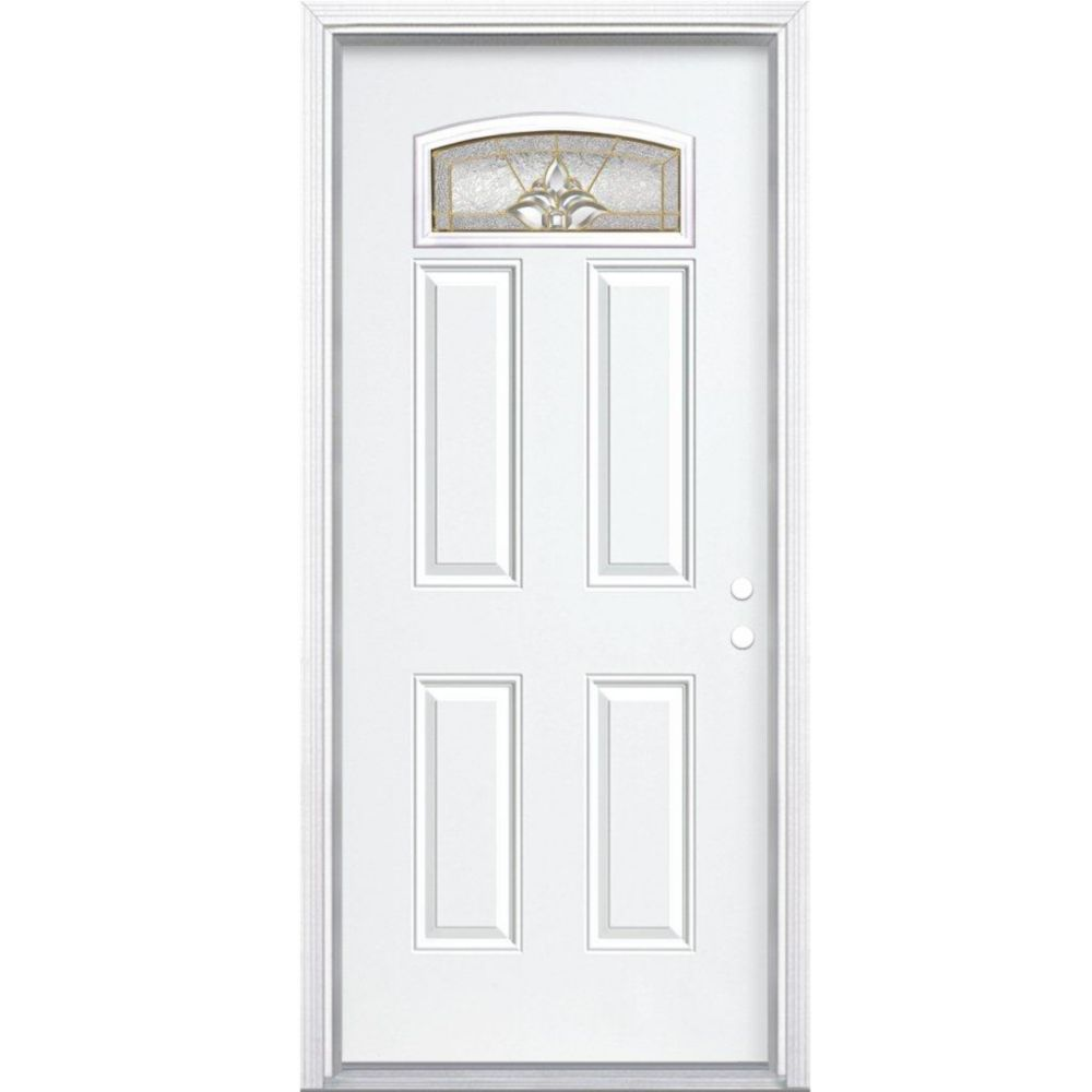 36 In. x 80 In. x 4 9/16 In. Providence Brass Camber Fan Lite Left Hand Entry Door with Brickmoul...