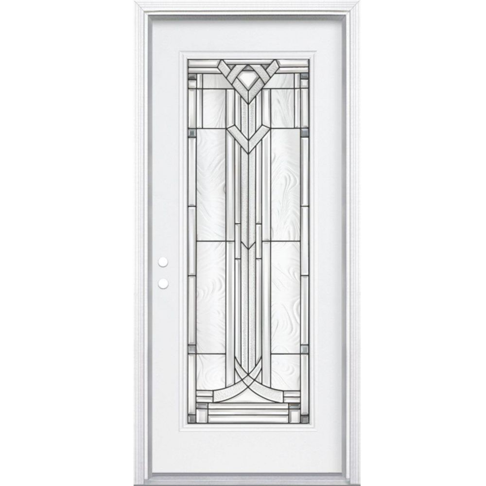 32-inch x 80-inch x 4 9/16-inch Antique Black Full Lite Right Hand Entry Door with Brickmould