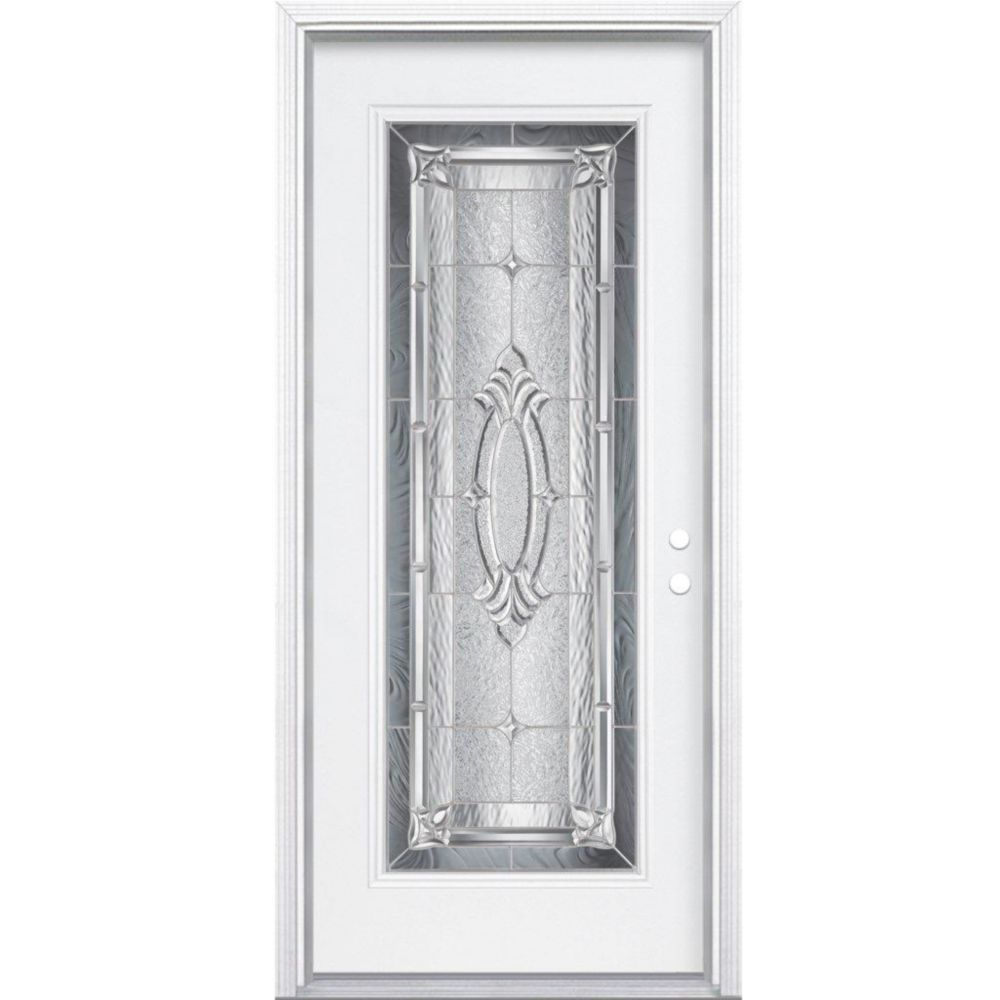 34-inch x 80-inch x 4 9/16-inch Nickel Full Lite Left Hand Entry Door with Brickmould