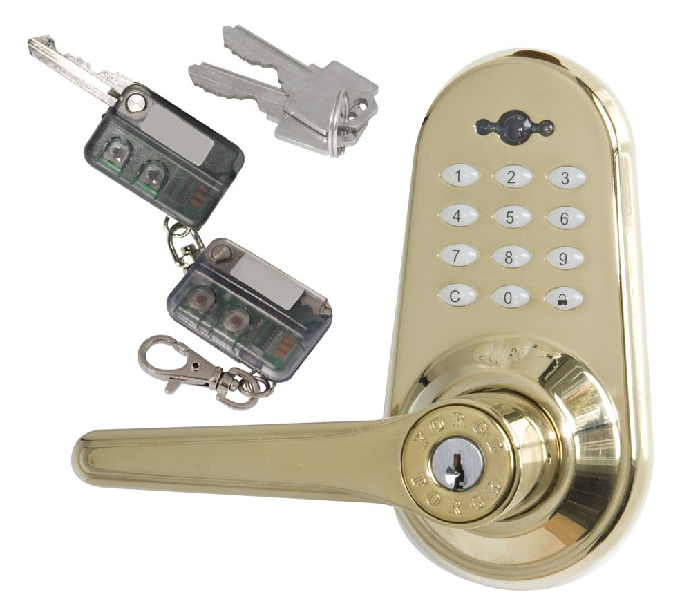 Polished Brass Electronic Lever Lock