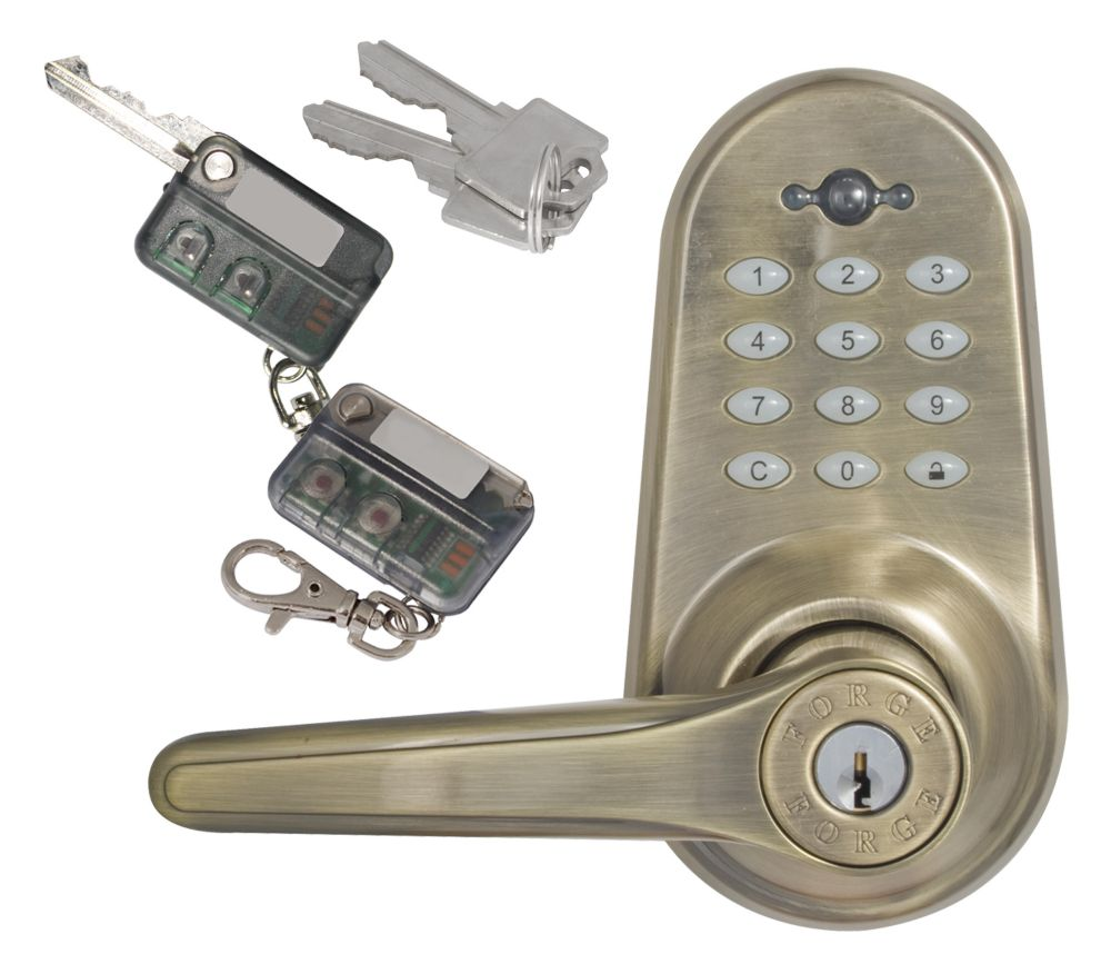 Forge Antique Brass Keyless Entry Electronic Lever Lock
