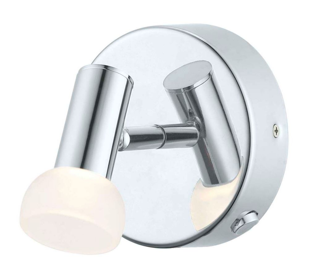 Glossy LED Wall Light 1L, Chrome Finish with Frosted Glass