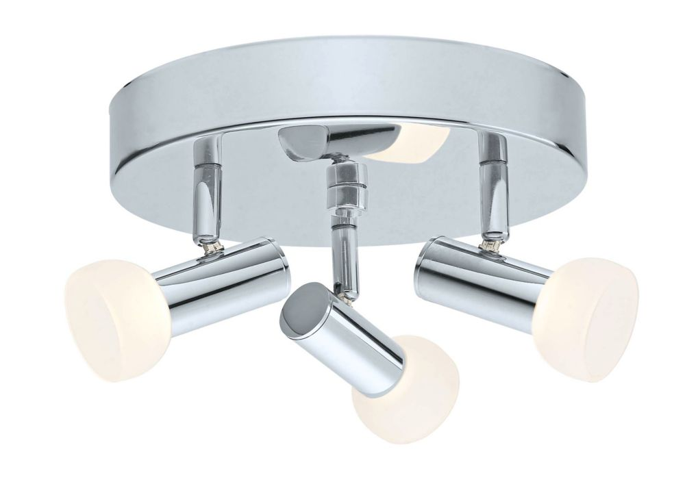 Glossy LED Ceiling Light 3L, Chrome Finish with Frosted Glass