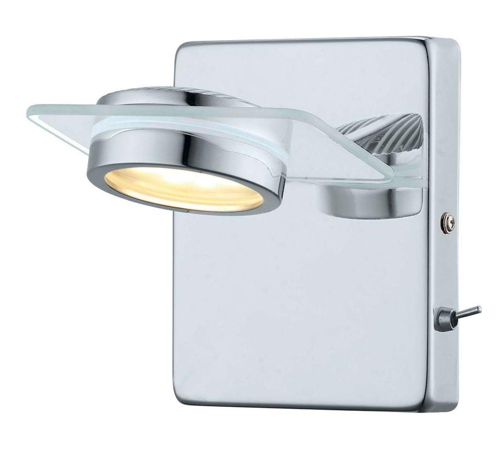 Tinnari LED Wall Light 1L, Chrome Finish with Satin Glass