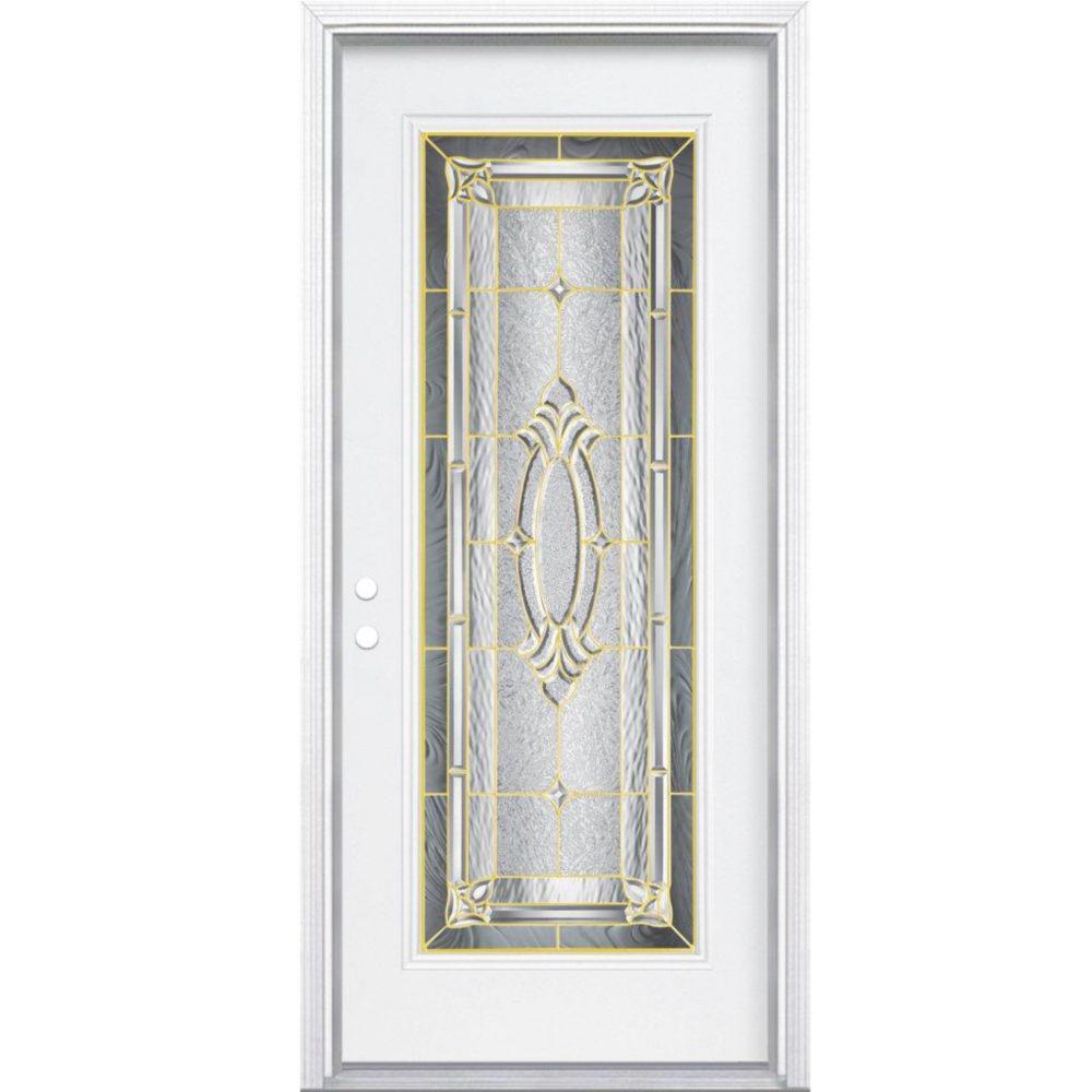 Masonite 32 inch x 80 inch x 6 9 16 inch brass full lite for 16x80 door