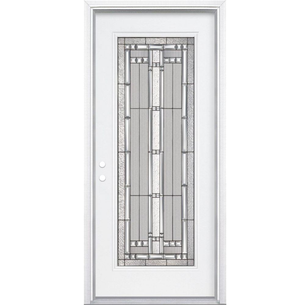 34 In. x 80 In. x 4 9/16 In. Elmhurst Antique Black Full Lite Right Hand Entry Door with Brickmou...