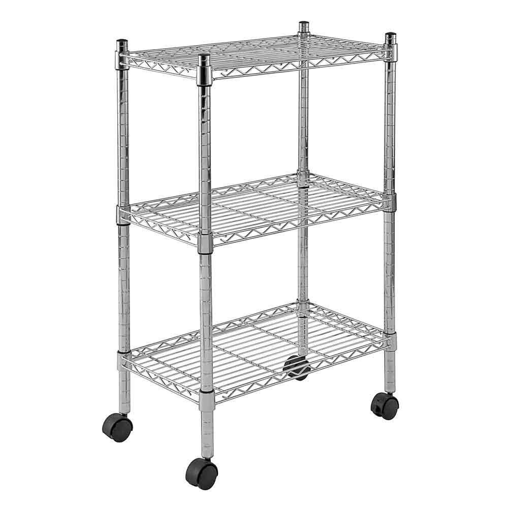 3 Shelf Heavy Duty Mobile Wire Shelving Unit 22 Inch W x 13 Inch D x 33 Inch H Chrome Color