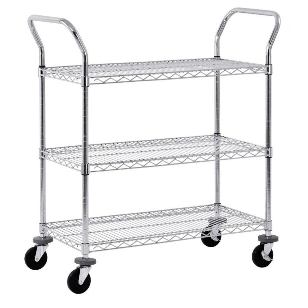 3-Tier Chrome Wire UtilityCart