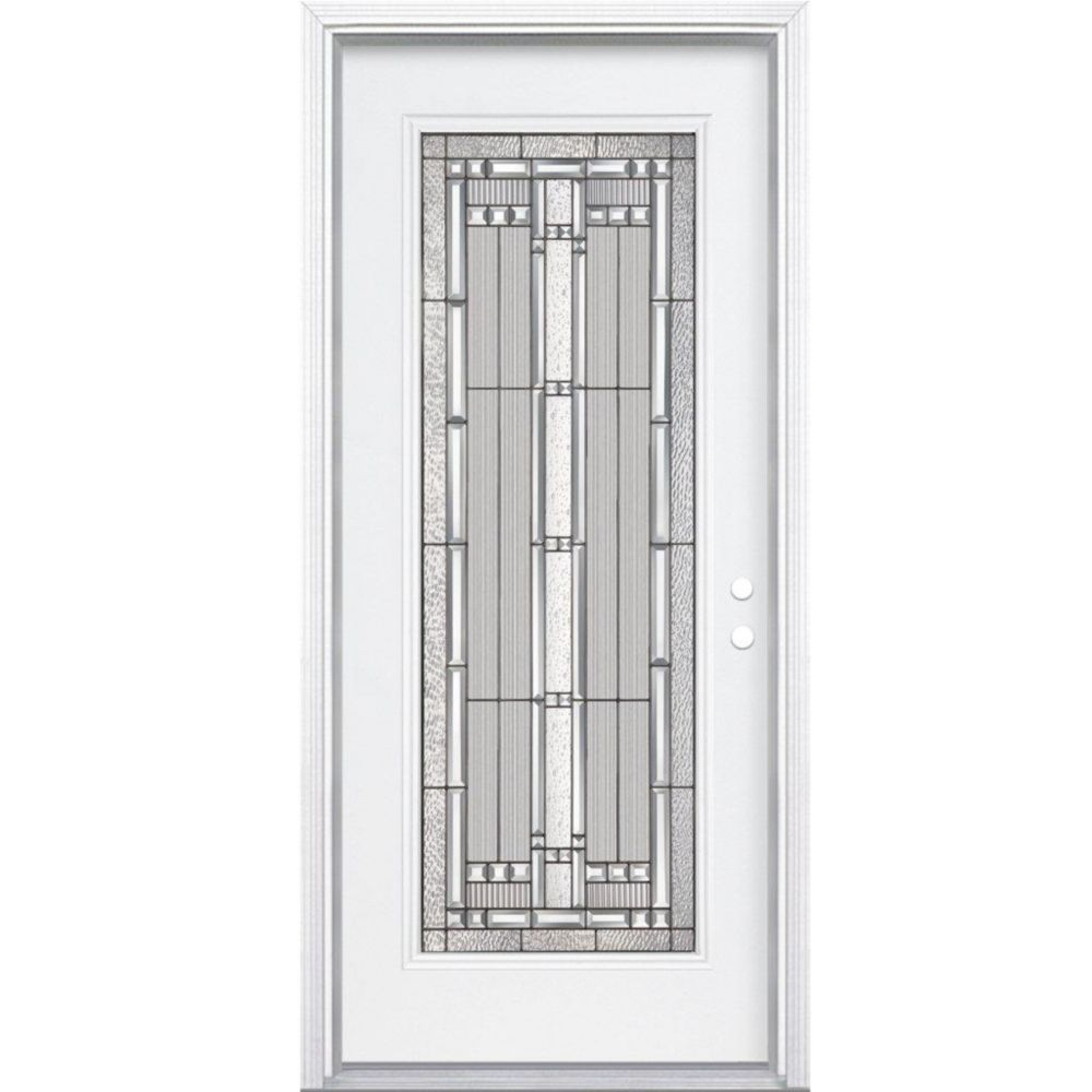 34-inch x 80-inch x 6 9/16-inch Antique Black Full Lite Left Hand Entry Door with Brickmould
